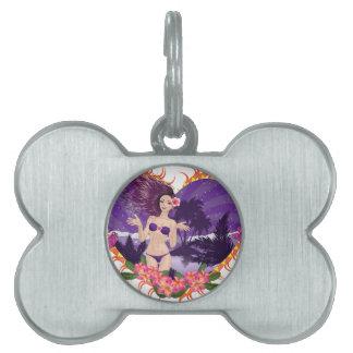 Island girl in violet bikini pet ID tag
