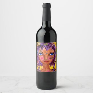 Island Girl Painting Yellow Purple Wine Label
