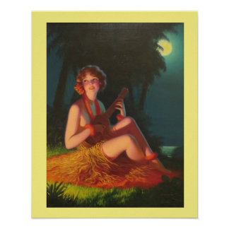 Island Girl Playing Ukulele in the Moonlight Poster