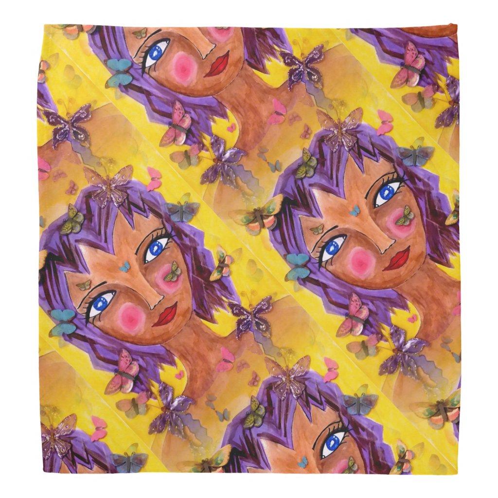 Island Girl with Butterflies Bandana