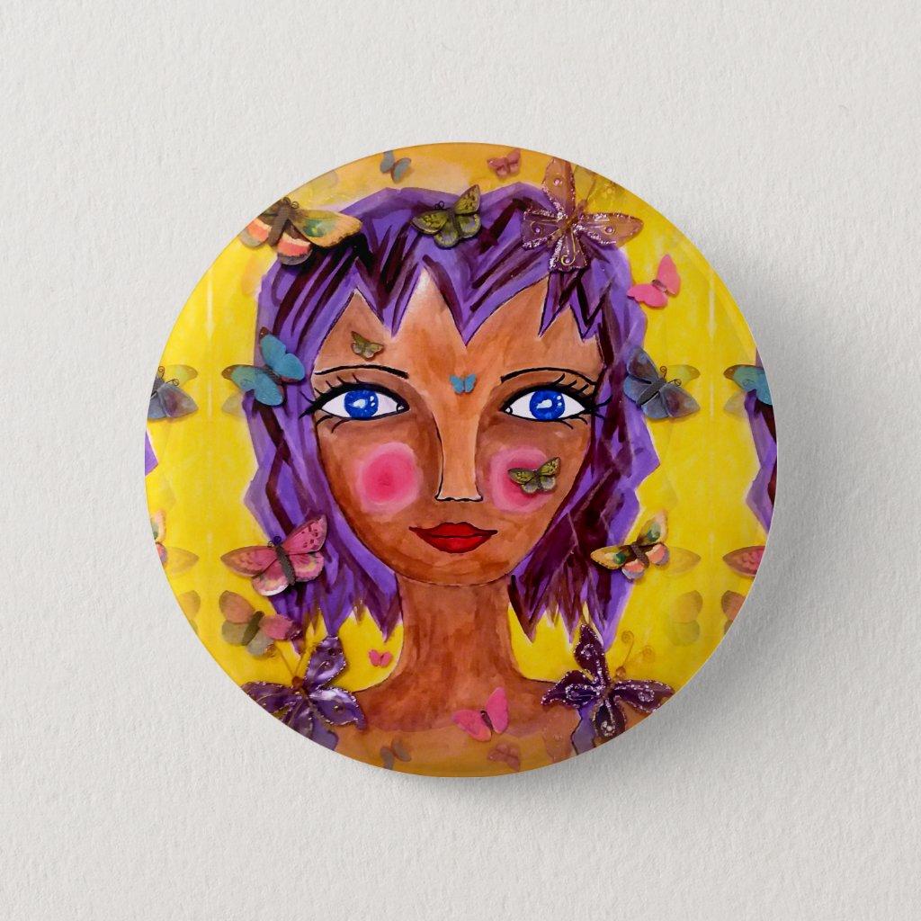 Island Girl with Butterflies Button