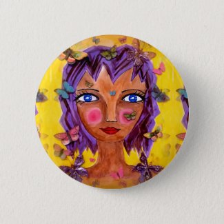 Island Girl with Butterflies Button