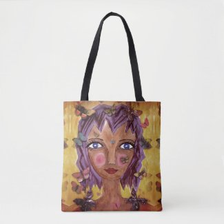 Island Girl with Butterflies on Tote Bag