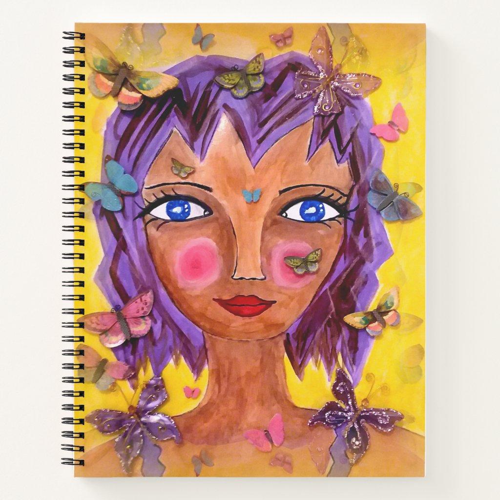 Island Girl with Butterflies Spiral Notebook