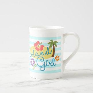 Island Girl with Caribbean Blue Stripes Tall Mug