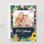 "Island Greetings Photo Holiday Card | Dark<br><div class=""desc"">Send fun island greetings with these stylish photo holiday cards,  featuring watercolor tropical elements and typography that reads,  ""Mele Kalikimaka.""  The color on the back of the card can be customized to any color you"