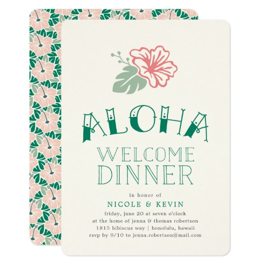 Island hibiscus aloha welcome dinner invitation zazzle island hibiscus aloha welcome dinner invitation stopboris Image collections
