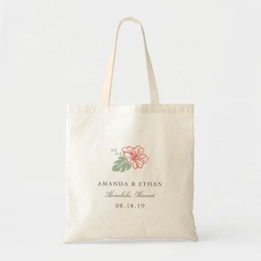 Beach Themed Island Hibiscus Destination Wedding Favor Tote Bag