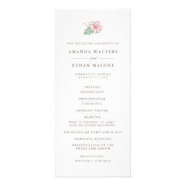 Beach Themed Island Hibiscus Double Sided Wedding Program