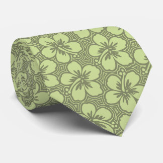 Island Hibiscus Floral Hawaiian Two-sided Printed Neck Tie