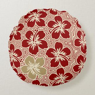 Island Hibiscus Hawaiian Pinstriped Reversible Round Pillow
