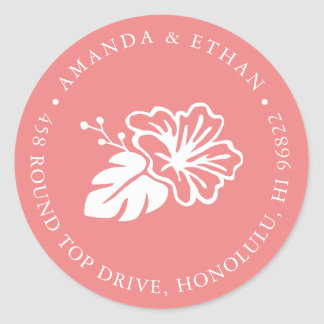 Island Hibiscus Return Address Classic Round Sticker