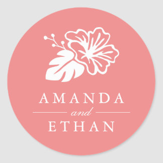 Island Hibiscus Wedding Classic Round Sticker
