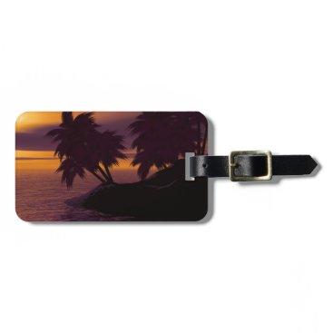 island holiday beach palms sunset luggage tag