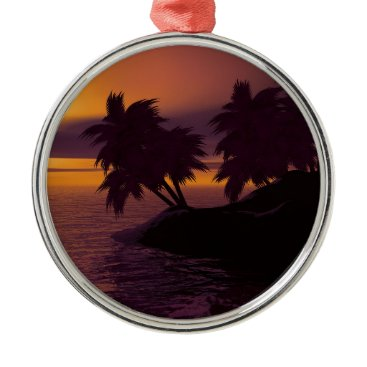 island holiday beach palms sunset metal ornament