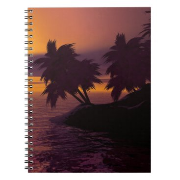 island holiday beach palms sunset notebook
