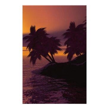 island holiday beach palms sunset stationery