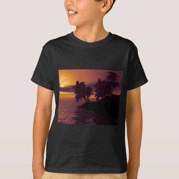 Beach Themed island holiday beach palms sunset T-Shirt