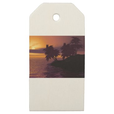 island holiday beach palms sunset wooden gift tags