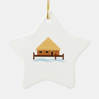 Island Hut Double-Sided Star Ceramic Christmas Ornament
