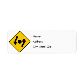 Island in Intersection Highway Sign Label