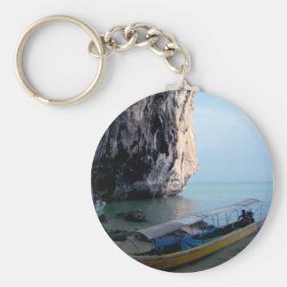 Island Basic Round Button Keychain