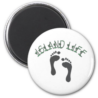 Island Life - Tropical Barefoot On The Beach 2 Inch Round Magnet