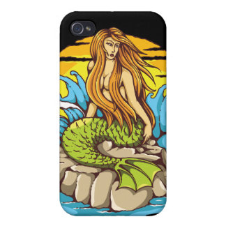 Island Mermaid With Tribal Sun Tattoo Style Art iPhone 4 Case