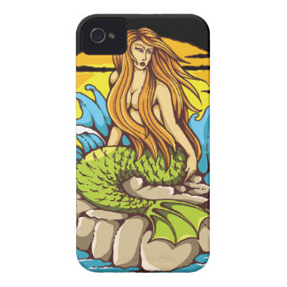 Island Mermaid With Tribal Sun Tattoo Style Art iPhone 4 Case-Mate Case