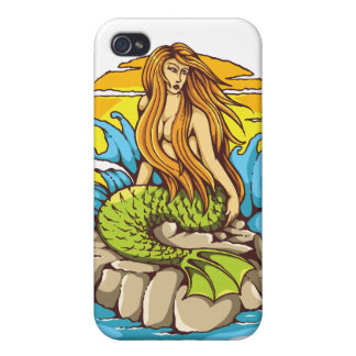 Island Mermaid With Tribal Sun Tattoo Style Art iPhone 4 Cover