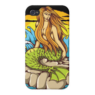 Island Mermaid With Tribal Sun Tattoo Style Art iPhone 4 Covers