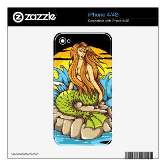 Island Mermaid With Tribal Sun Tattoo Style Art iPhone 4 Skin