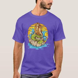 Island Mermaid With Tribal Sun Tattoo Style Art T-Shirt