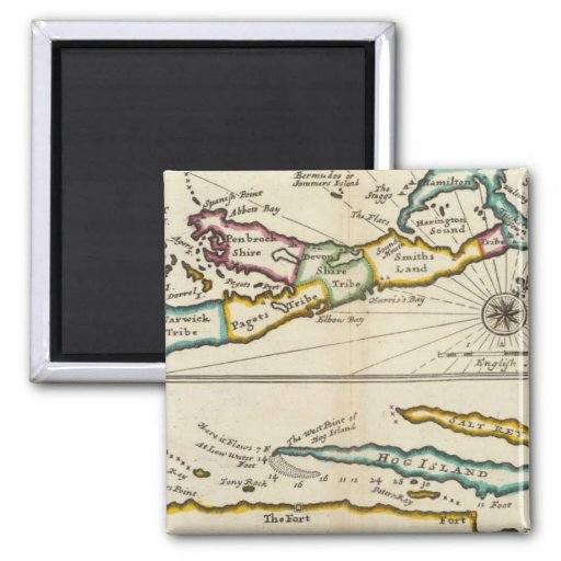 Island of Bermuda, Part of Providence Island 2 Inch Square Magnet