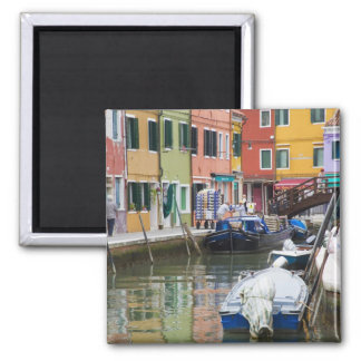 Island of Burano, Burano, Italy. Colorful 2 2 Inch Square Magnet