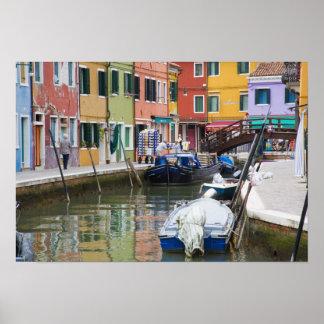 Island of Burano, Burano, Italy. Colorful 2 Poster
