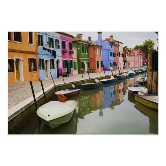 Island of Burano, Burano, Italy. Colorful 4 Poster