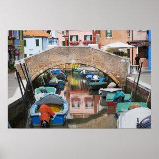 Island of Burano, Burano, Italy. Colorful Poster