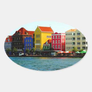 Island of Curacao Design by Admiro Oval Sticker