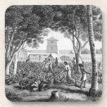 """Island of Guam: Natives at Work in the Garden of t Beverage Coaster<br><div class=""""desc"""">Image:209645  Island of Guam: Natives at Work in the Garden of the Governor&#39;s Palace,  from &#39;Voyage Autour du Monde (1817-20)&#39;,  by Louis Claude Desaulses de Freycinet (1779-1842) engraved by Schroeder,  published 1822-24 (litho). Marchais,  Pierre Antoine (1763-1859) (after). Private Collection,  The Stapleton Collection.  Art,  Fine Art.</div>"""