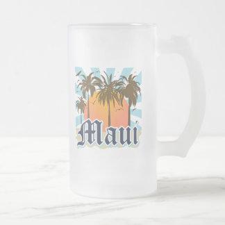 Island of Maui Hawaii Souvenir Frosted Glass Beer Mug