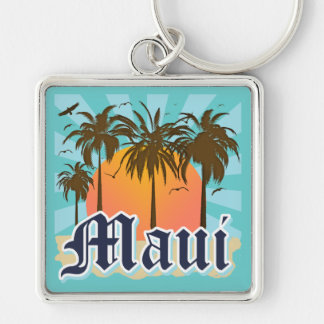 Island of Maui Hawaii Souvenir Silver-Colored Square Keychain