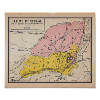 Island of Montreal 1920 French Antique Map Poster