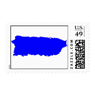 Island of Puerto Rico in Blue Postage Stamps
