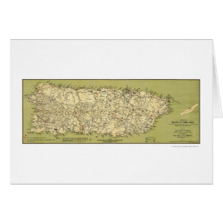 Island of Puerto Rico Map 1900 Greeting Card