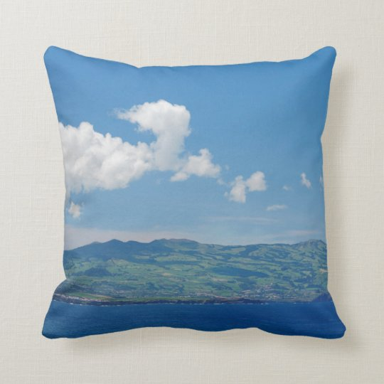 Island on the horizon throw pillow