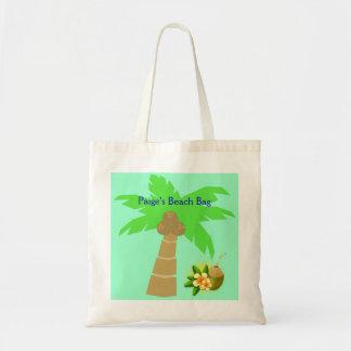 Island Palm Tree Coconut Drink Optional Customized Tote Bag