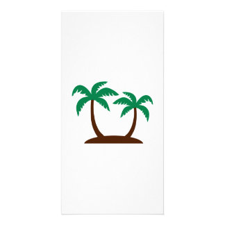 Island palm trees personalized photo card