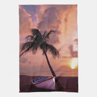 Island Paradise at Sunset Kitchen Towels