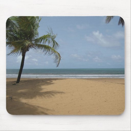 Island Paradise Beach Scene With Palm Trees Mouse Pads